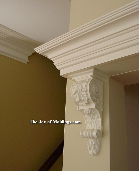 crown molding and corbel over door