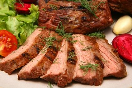 served roasted beef meat steak
