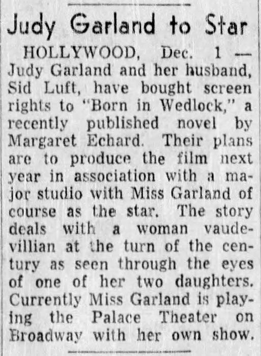 "Judy Garland in ""Born in Wedlock"""