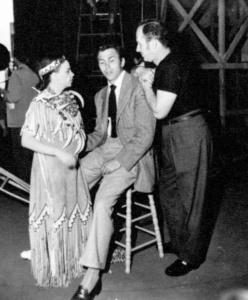 "Judy Garland, Howard Keel, Keenan Wynn on the set of ""Annie Get Your Gun"""