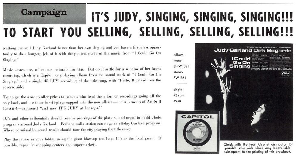 I Could Go On Singing soundtrack ad