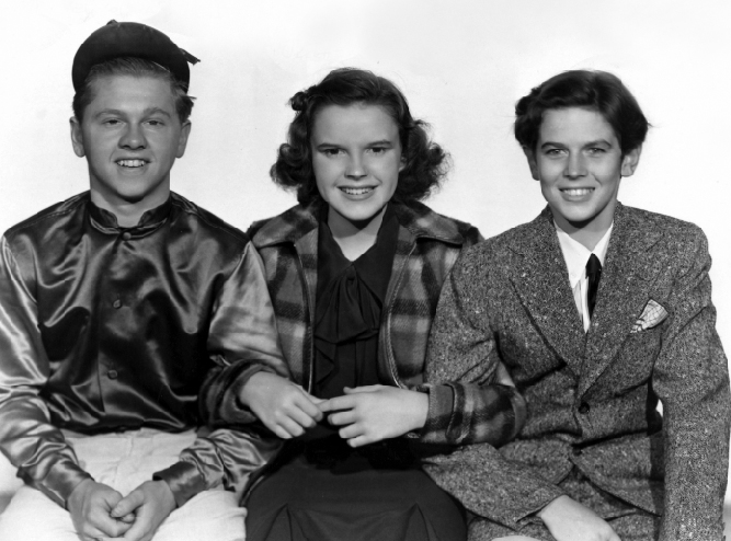 """Mickey Rooney, Judy Garland, Ronald Sinclair in """"Thoroughbreds Don't Cry"""""""