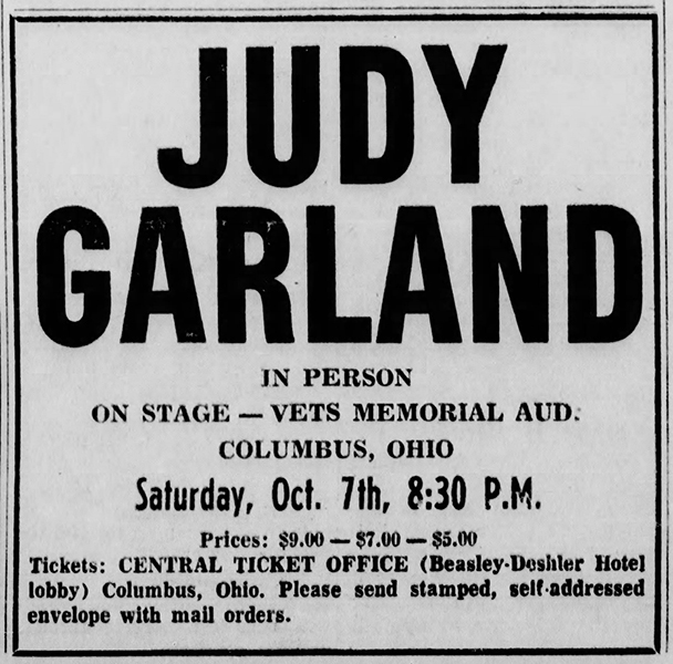 Judy Garland at Veterans Memorial 1967