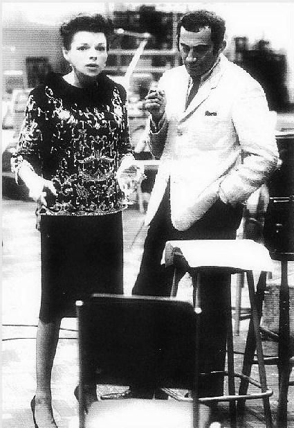 """Judy Garland and Lionel Bart during the recording of songs from """"Maggie May"""""""