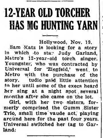 Judy Garland in The Great Ziegfeld January 1935 Variety notice