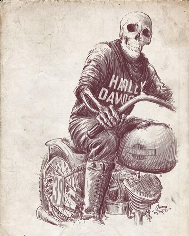 harley davidson vintage illustration