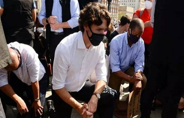 Justin Trudeau took a knee in solidarity with anti-racism demonstrators