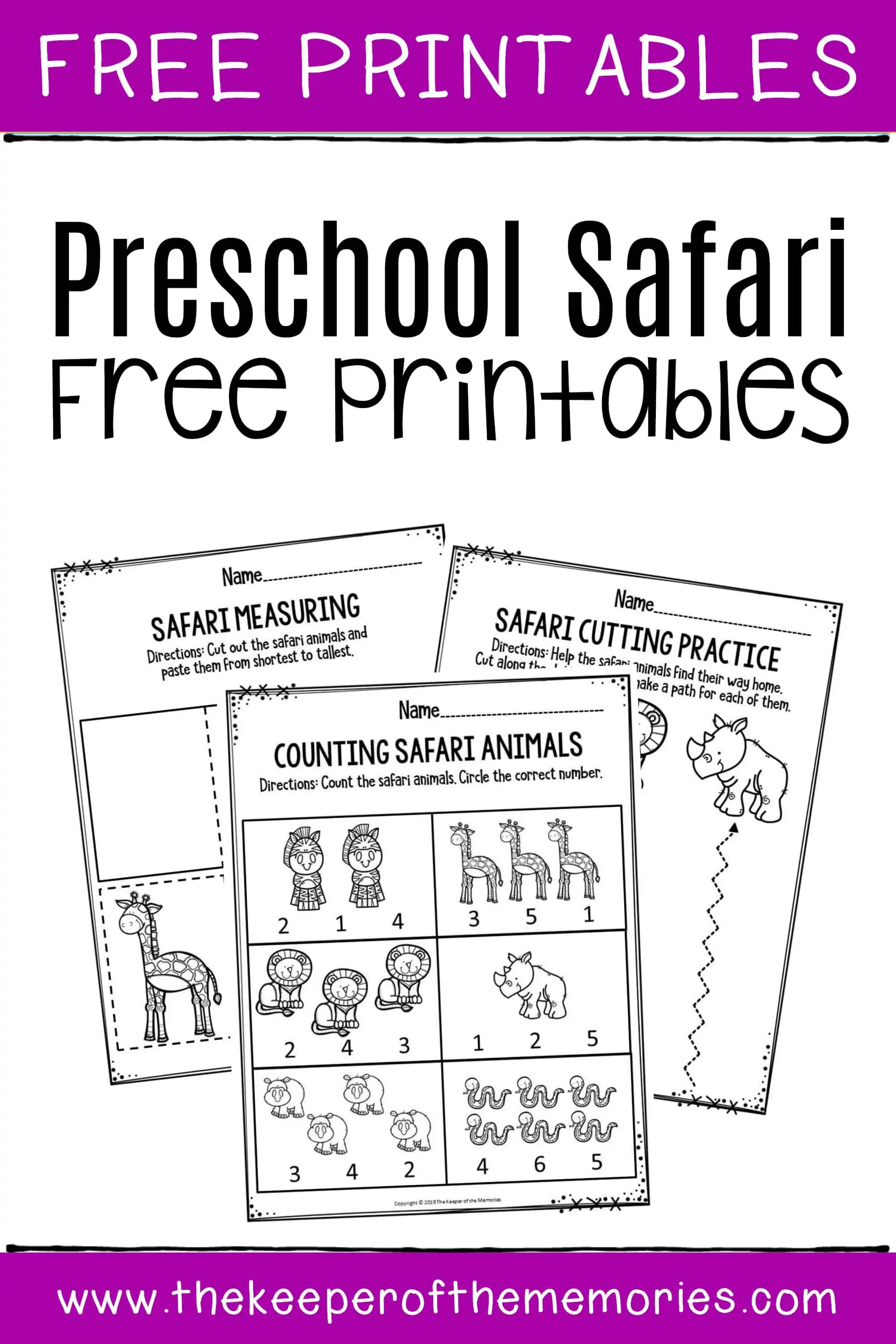 Preschool Worksheets Safari Free Printables