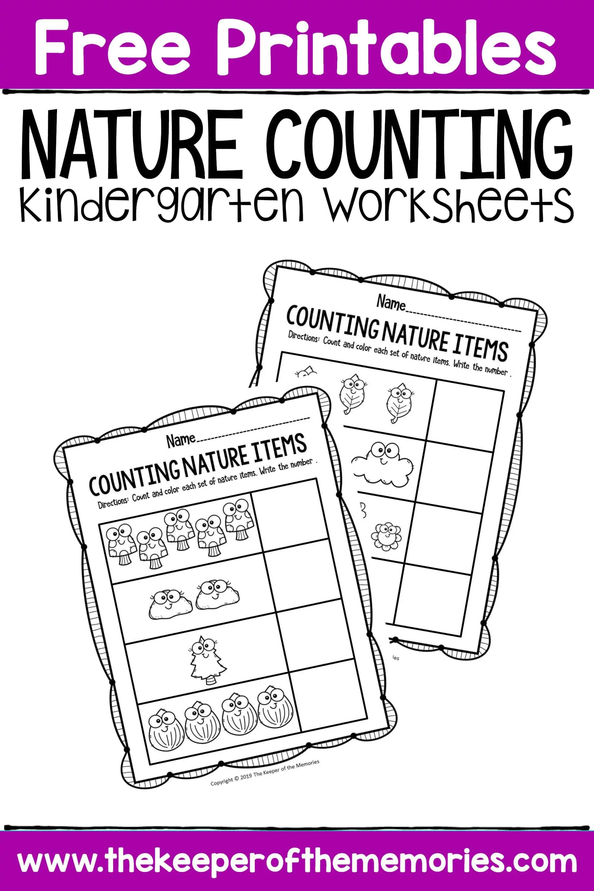 Free Printable Nature Counting Kindergarten Worksheets