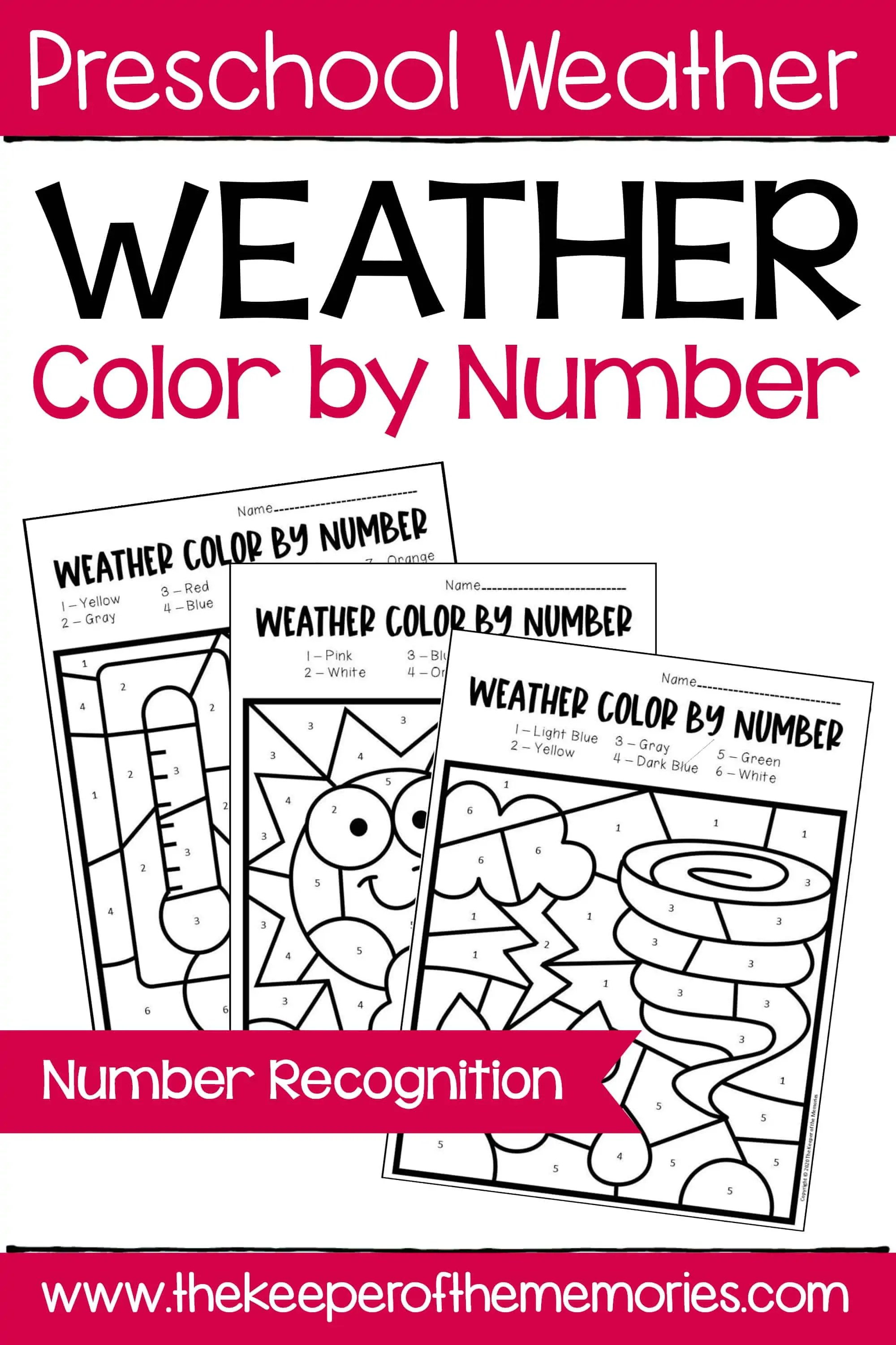 Color By Number Weather Preschool Worksheets