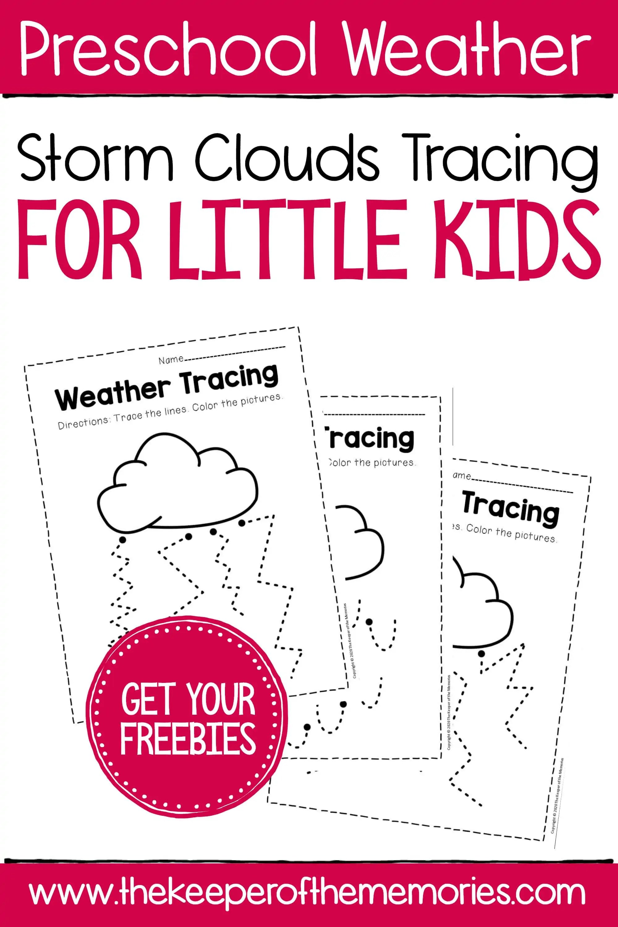 Free Printable Storm Clouds Tracing For Little Kids