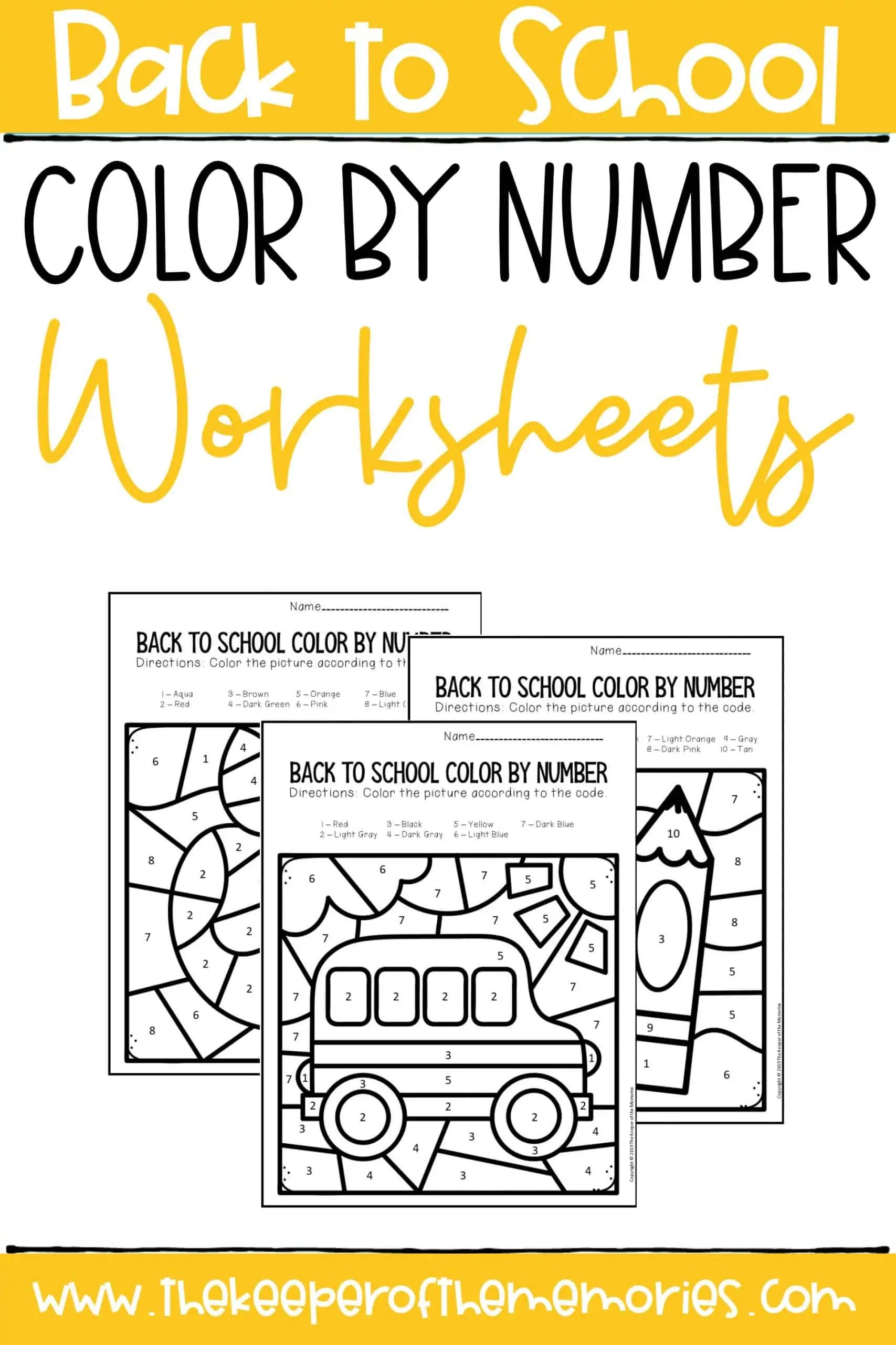 Back To School Color By Number Kindergarten Worksheets