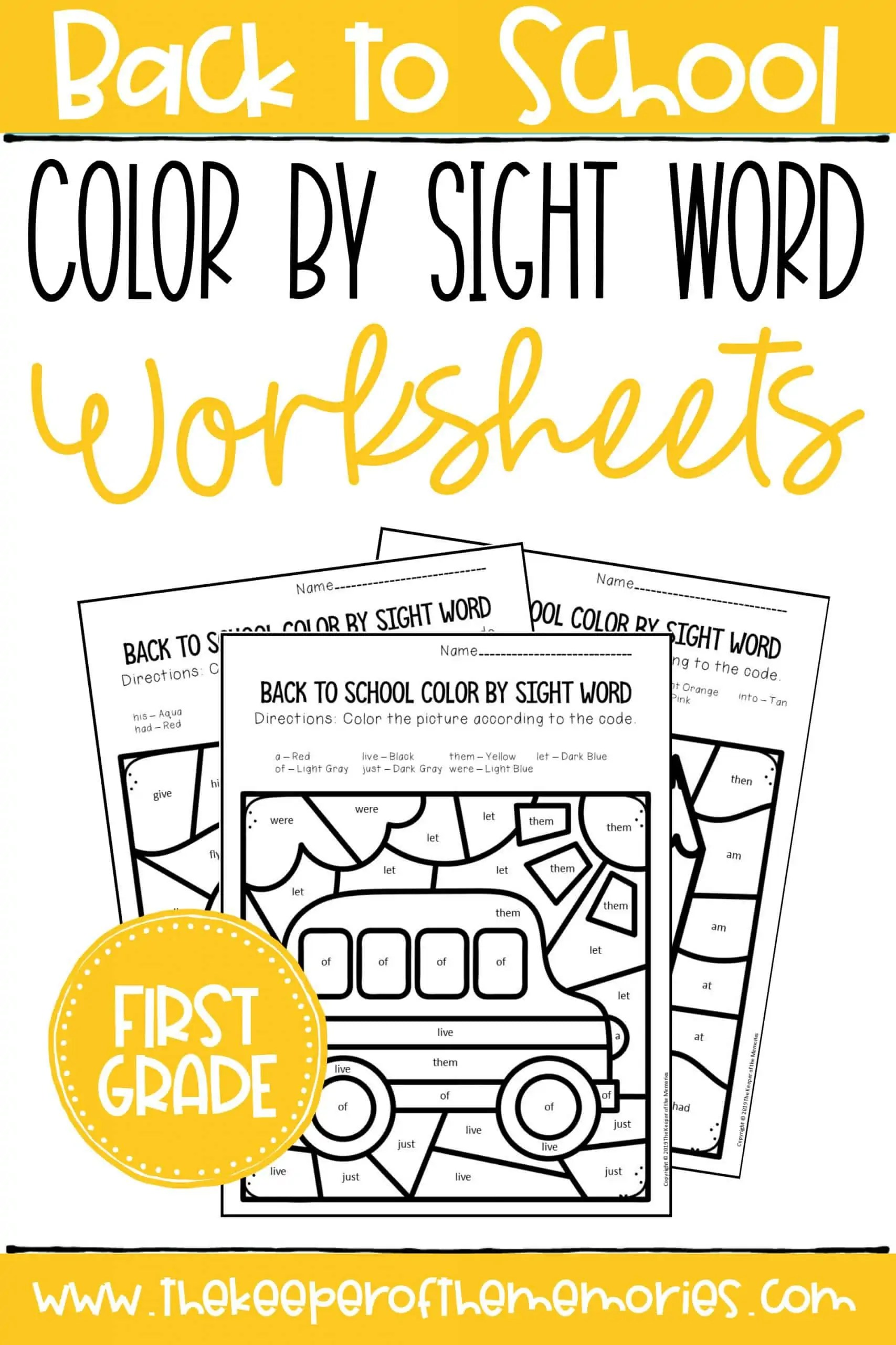 Color By Sight Word Back To School First Grade Worksheets