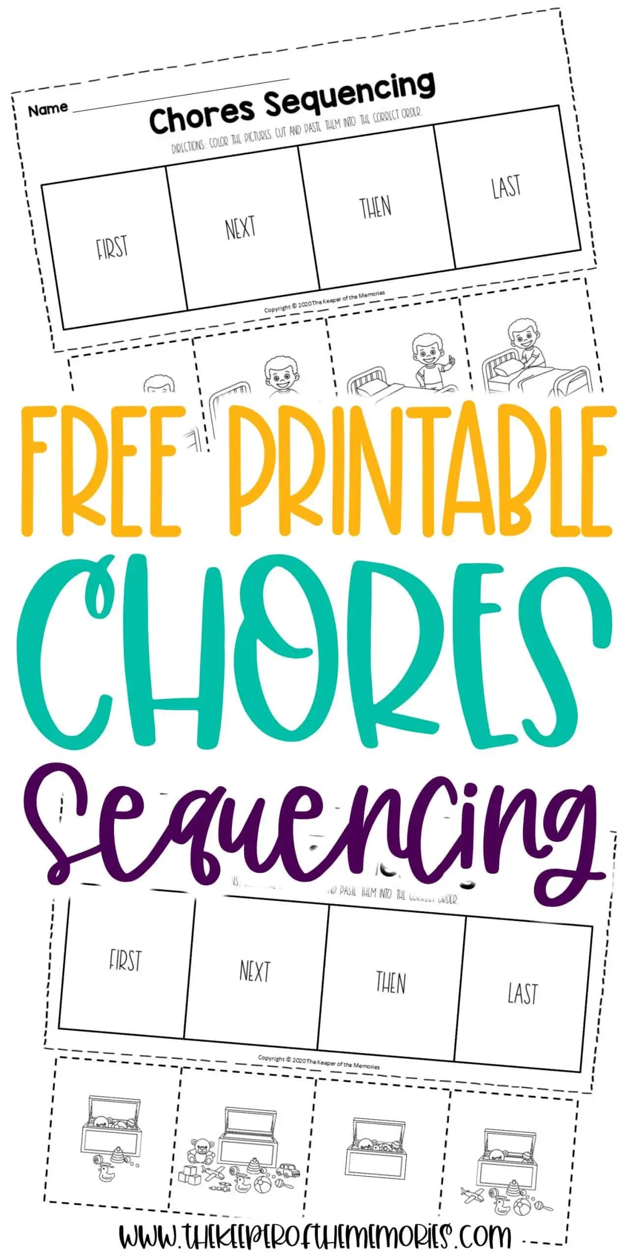 Free Printable Chores Sequencing Worksheets