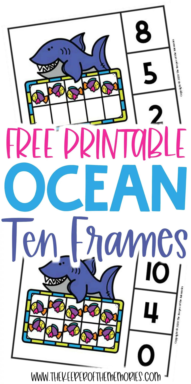 Free Printable Ocean Ten Frame Clip Cards