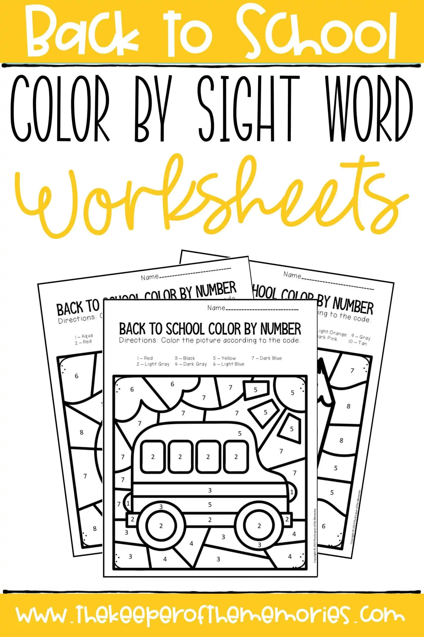 Back To School Color By Sight Word Preschool Worksheets