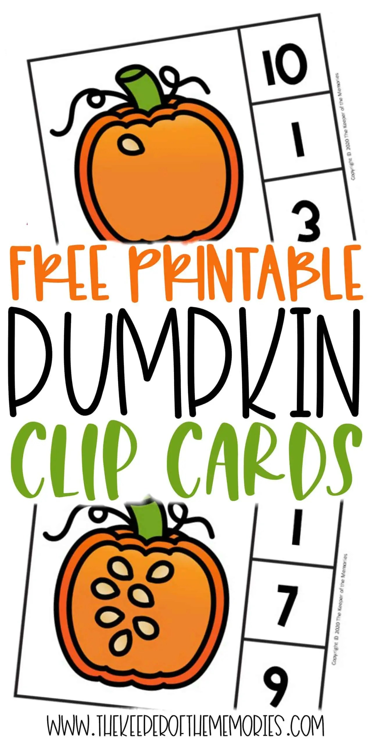 Free Printable Counting Pumpkin Seeds Counting Clip Cards