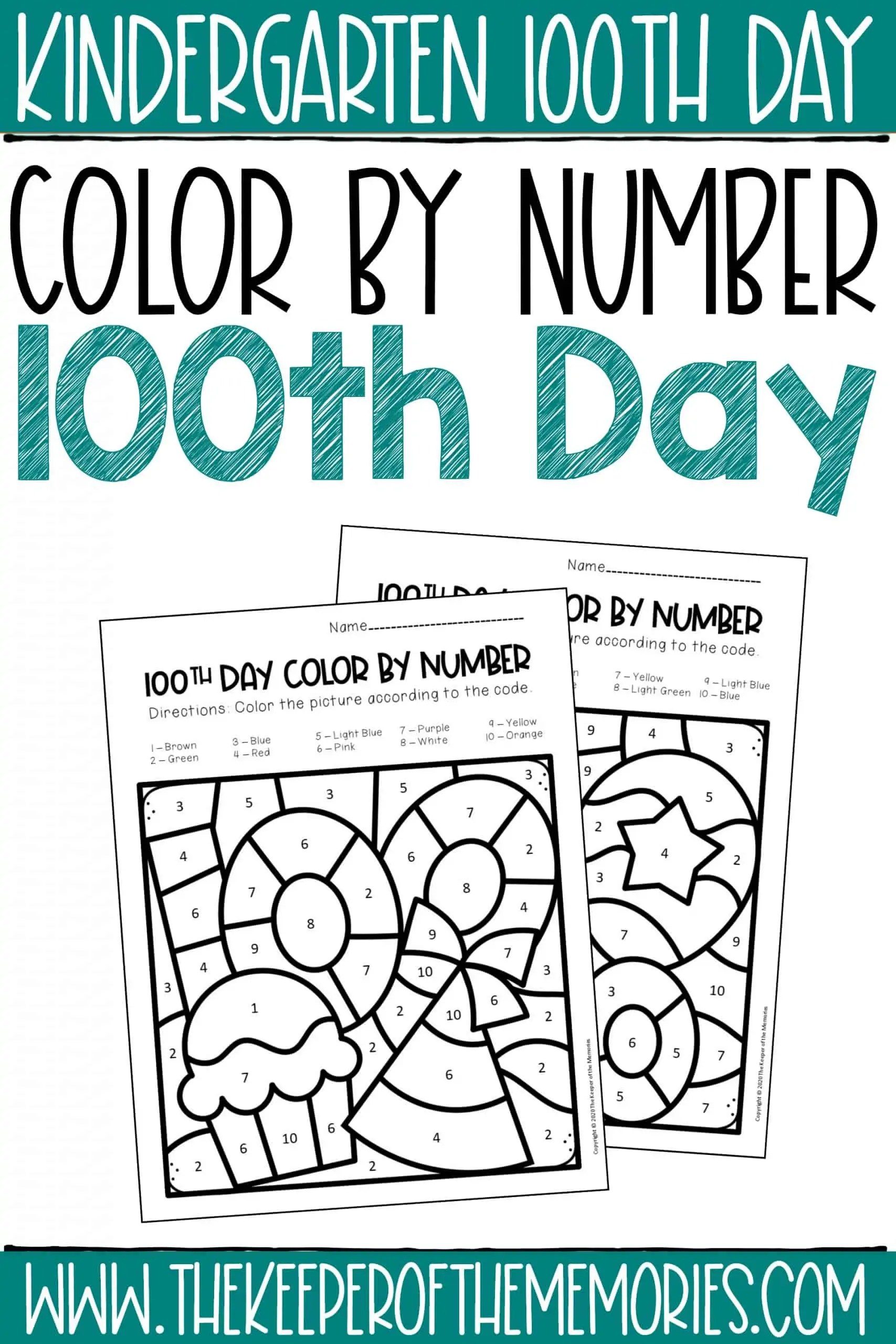 100th Day Color By Number Kindergarten Worksheets
