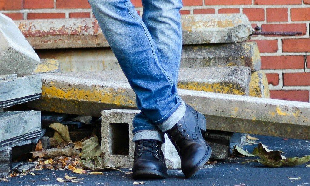 The Kentucky Gent in Ray-Ban Wayfarers, KR3W Long Sleeve Shirt, Kill City Leopard Print Denim Vest, WESC Jeans, Bed Stu Boots