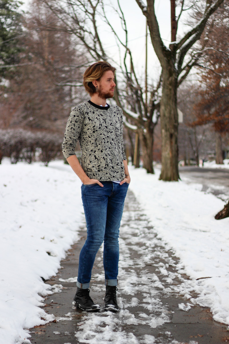 The Kentucky Gent in H&M Paisley Sweater, American Apparel Henley, Zara Jeans, Black Apple Leather Jacket, and Steve Madden Troopah 2 Boots