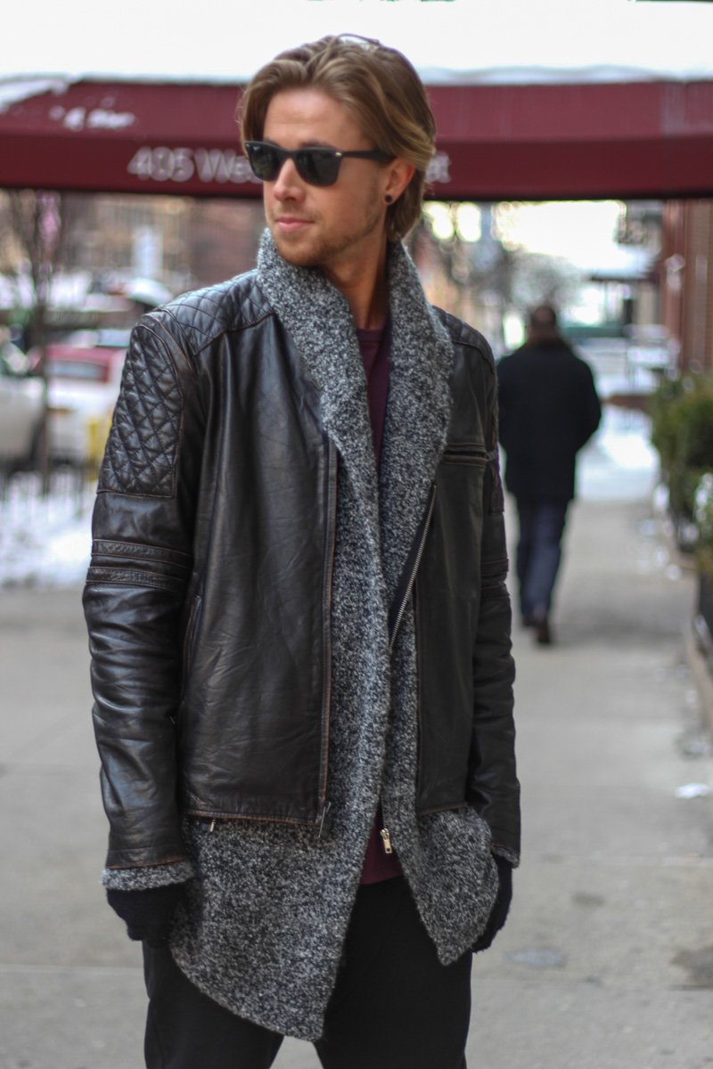 The Kentucky Gent at NYFW in Andrew Marc Leather Jacket, HM Sweater, Zara Pants, Topman Mesh Shirt, Steve Madden Boots, Ray-Ban Wayfarers