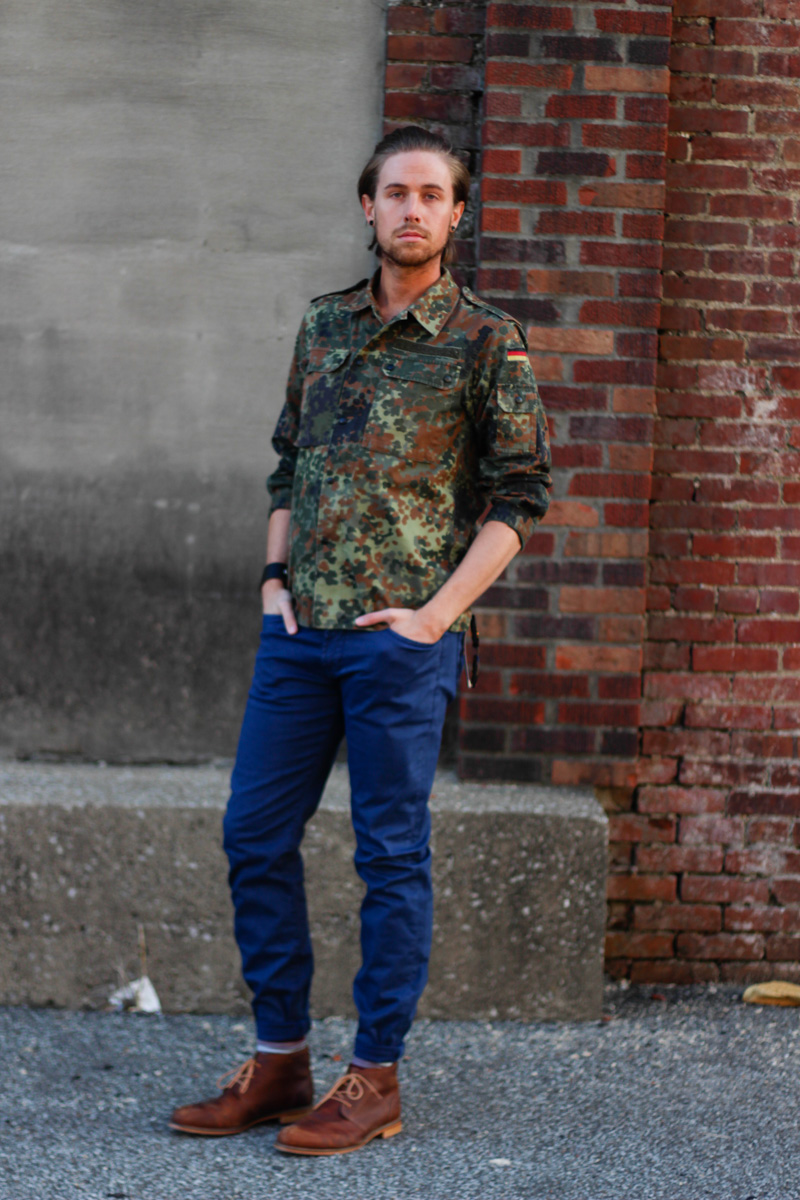 The Kentucky Gent in Original Penguin Briscoe Sunglasses, Camouflage Jacket, Big Star Division Brushed Twill Pants, Richer Poorer Socks, and J Shoes Monarch Boot