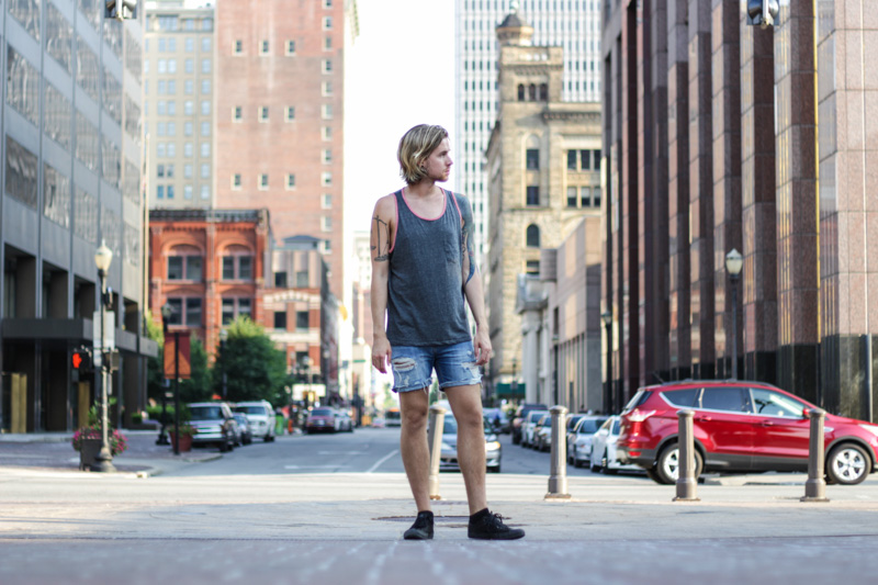 The Kentucky Gent in Levi's Cut Off Shorts for Out in Levi's Contest, Aeropostale Tank Top, Ray-Ban Wayfarers, and Converse Chuck Taylors.
