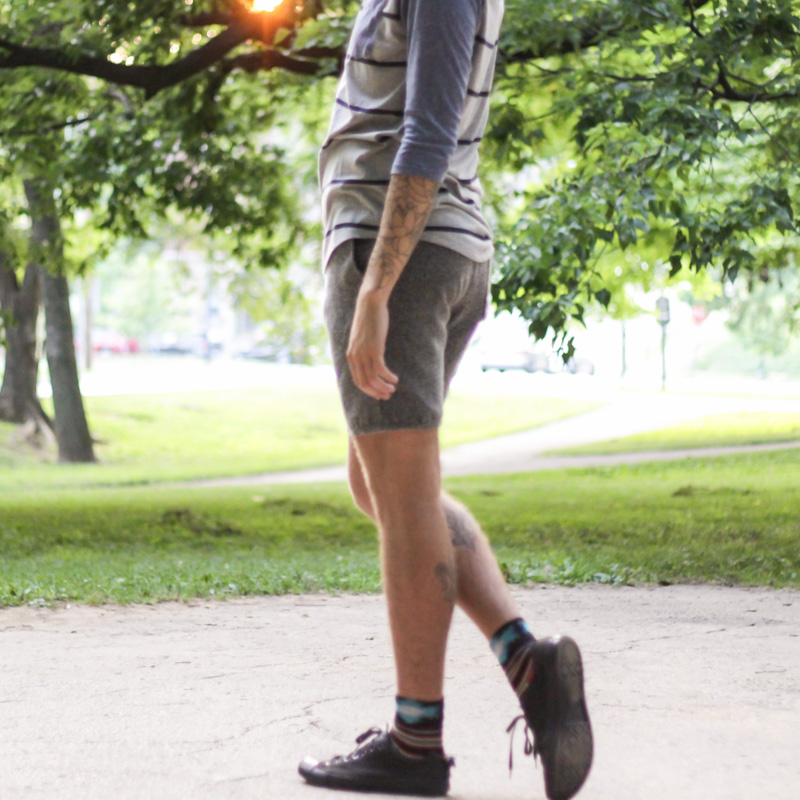 The Kentucky Gent in Aeropostale Striped Baseball T-shirt, Urban Outfitters Shorts, Richer Poorer Socks, and Converse Chuck Taylors.