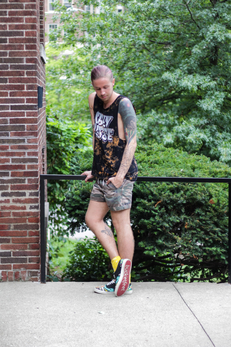 The Kentucky Gent in Obey Tank Top, Topman Camo Shorts, Richer Poorer Socks, and Bucket Feet Shoes.