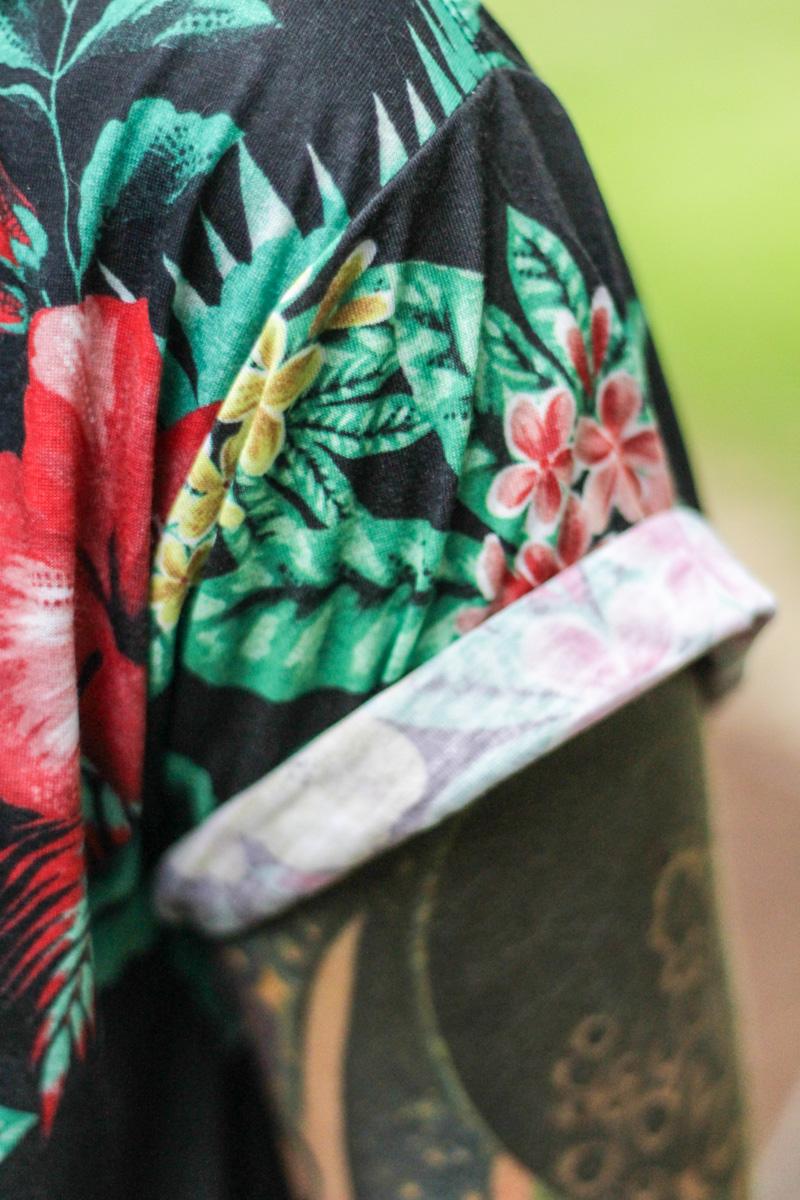 The Kentucky Gent in Jonny IV Floral Shirt, Jonny IV Floral Jogger Pants, and Zara Sandals.
