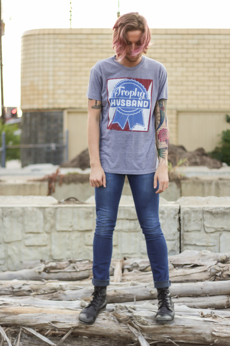 The Kentucky Gent in Trophy Husband T-Shirt, Topman Skinny Jeans, and Steve Madden Troopah Boots.
