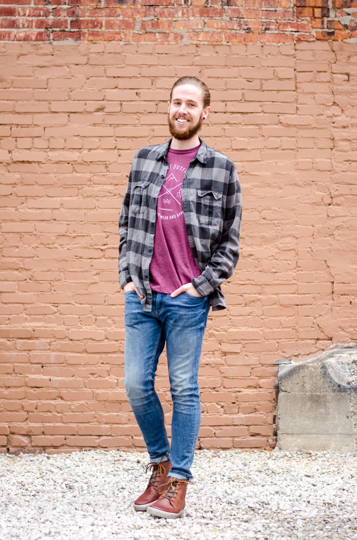 The Kentucky Gent, a Louisville, Kentucky based men's life and style blogger, in Ridgemont Outfitters T-Shirt, Devil's Harvest Plaid Shirt, H&M Jeans, Ecco Shoes, and Giles & Brother Cuff.