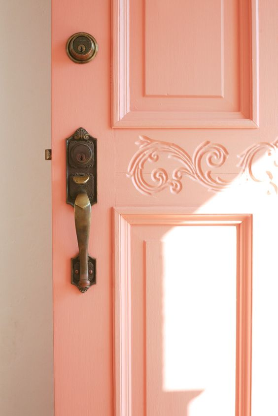 living coral colour door