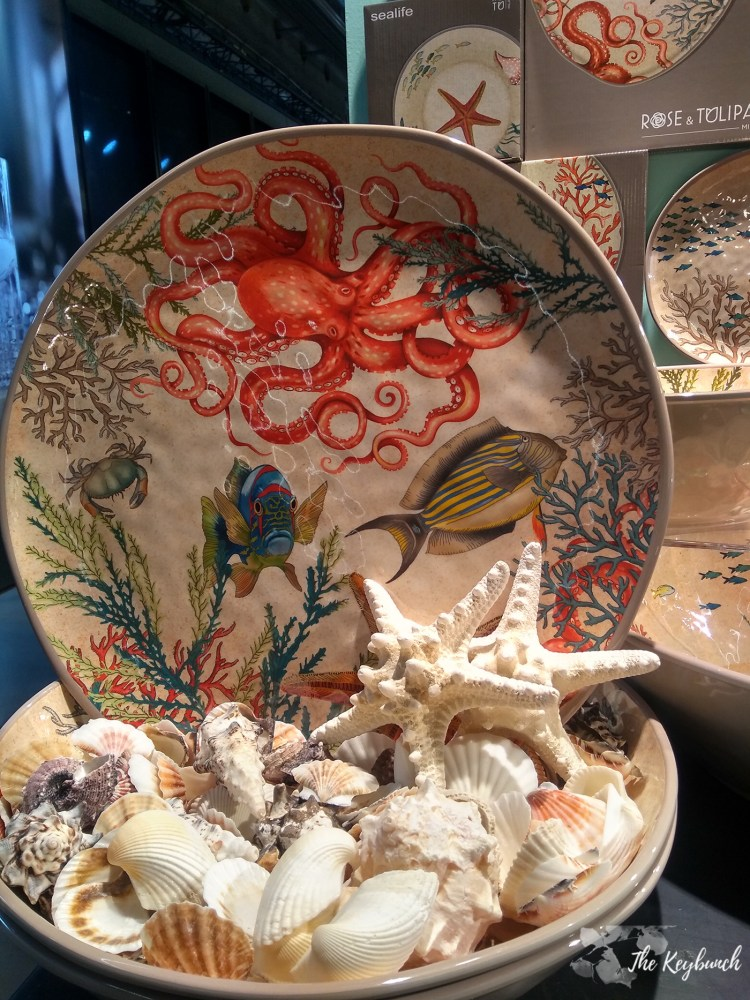 The Pantone Colour of the Year Living Coral in  these Sea Life themed plates