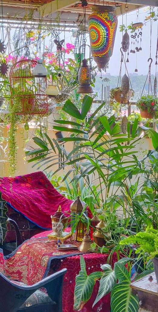 Jayashree Rajan's garden apartment tour on The Keybunch: Pergola plants