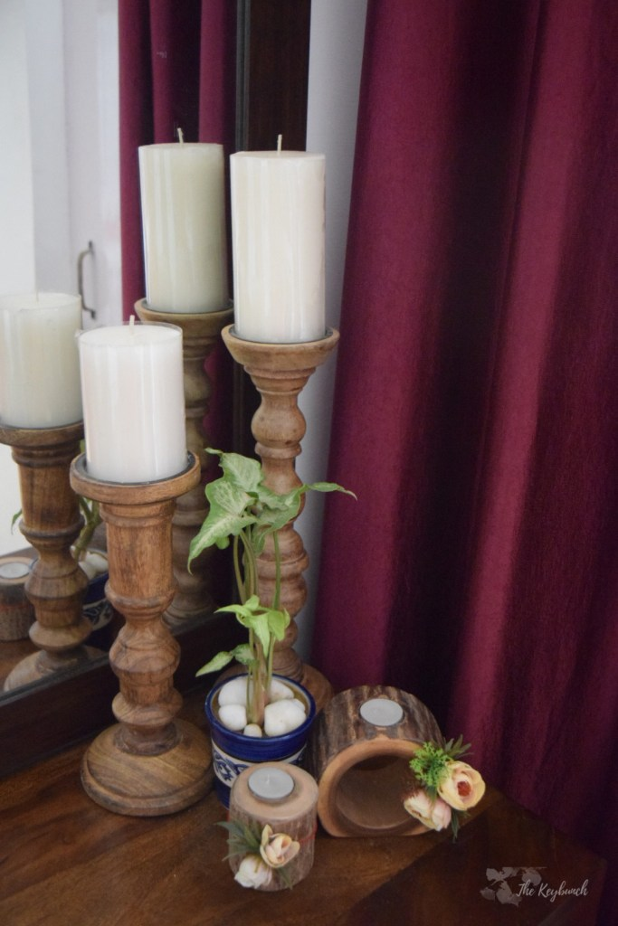 Home decor Tour by Ankita and Sitanshu's in Lucknow - candelabra made of wood