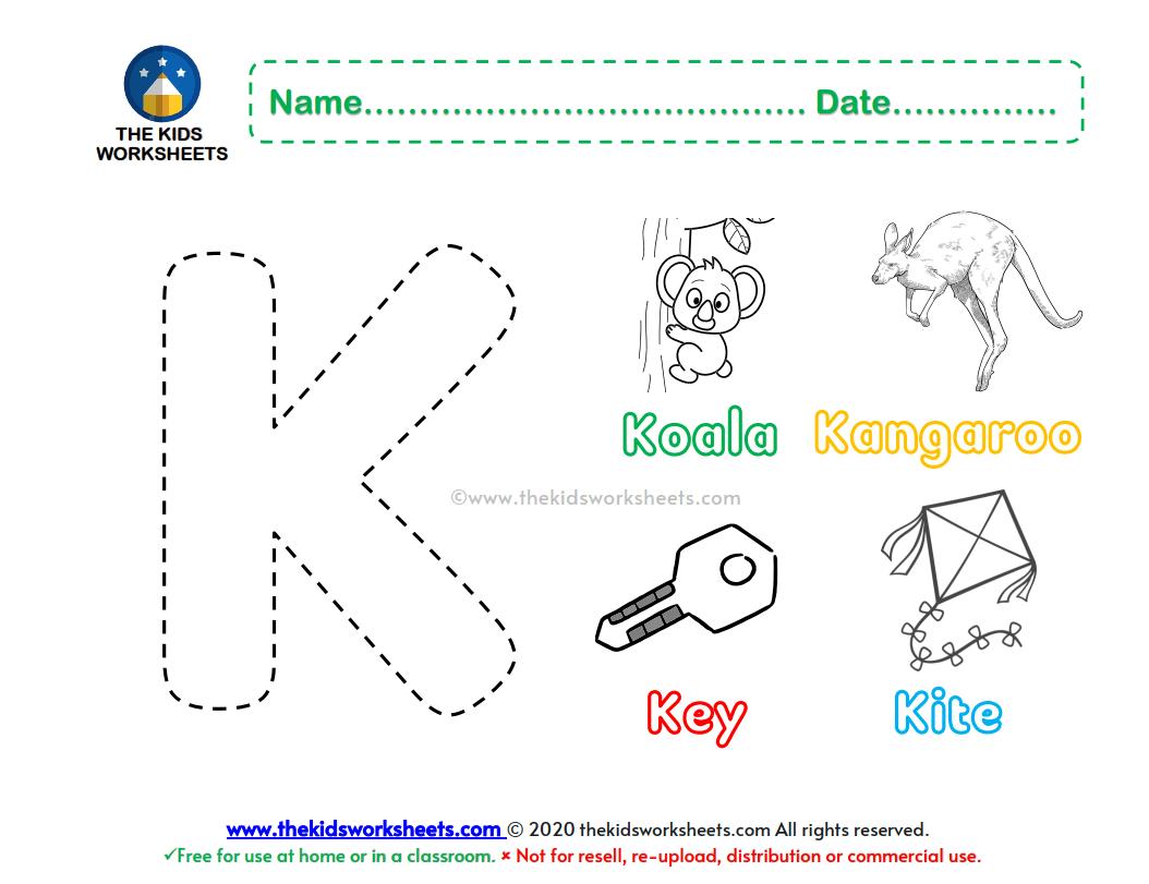 Letter K Color Worksheet The Kids Worksheets