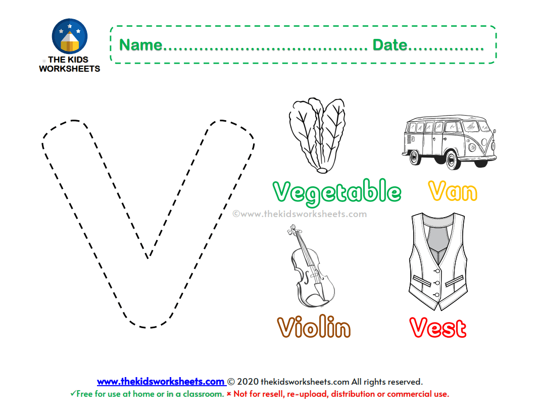 Letter V Color Worksheet The Kids Worksheets