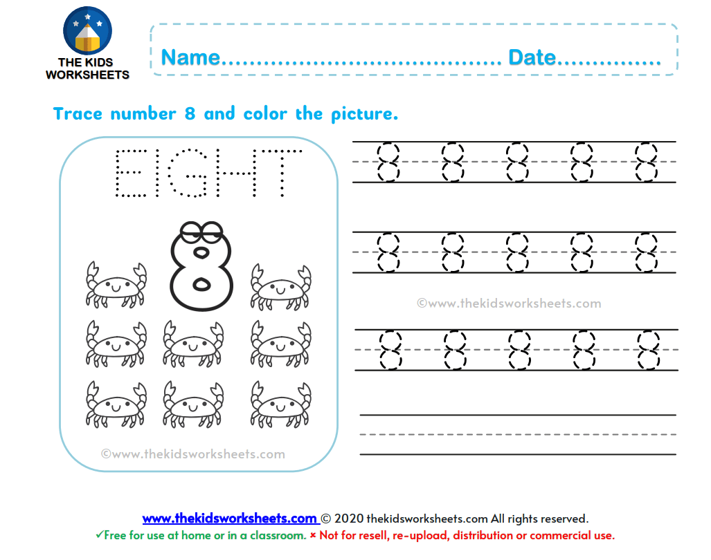Trace Number 8 Worksheet The Kids Worksheets