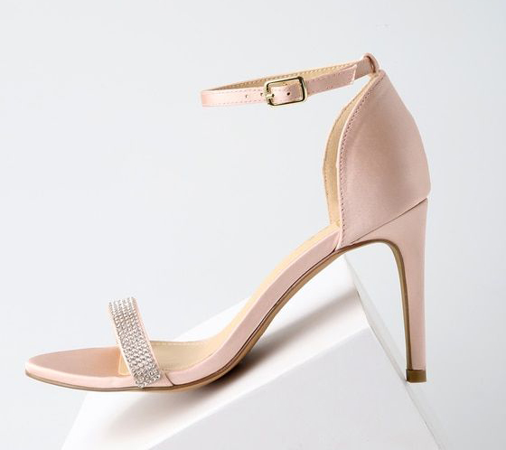 Alyssa Blush Satin Ankle Strap Heels
