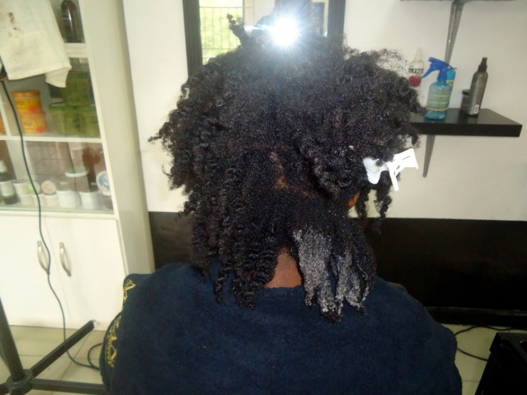 At the beginning of the Detangling Shampoo step