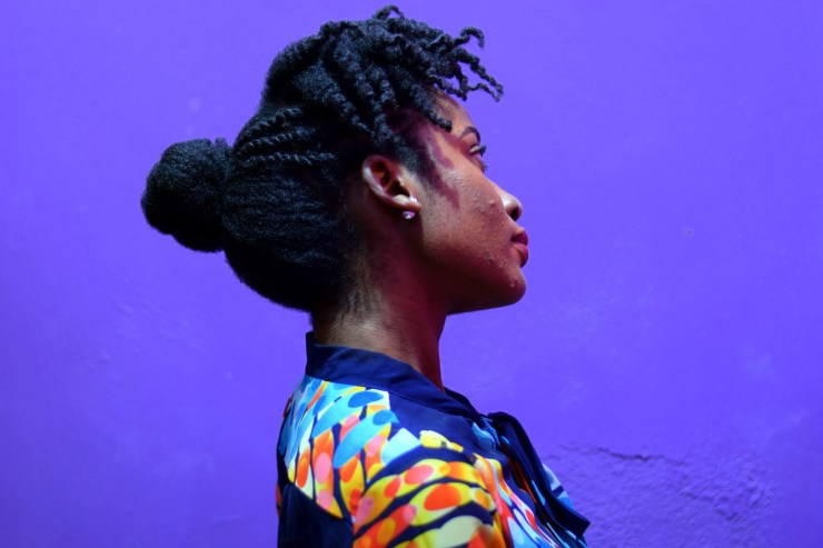 Professional Natural Hairstyle for 4C Hair- Curly Bangs and Kinky Bun- The Kink and I