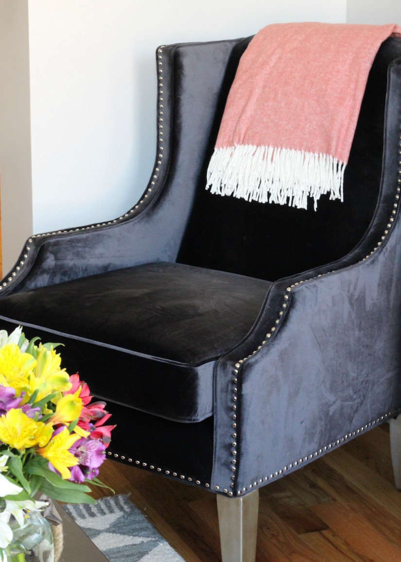 navy velvet accent chair from the room place