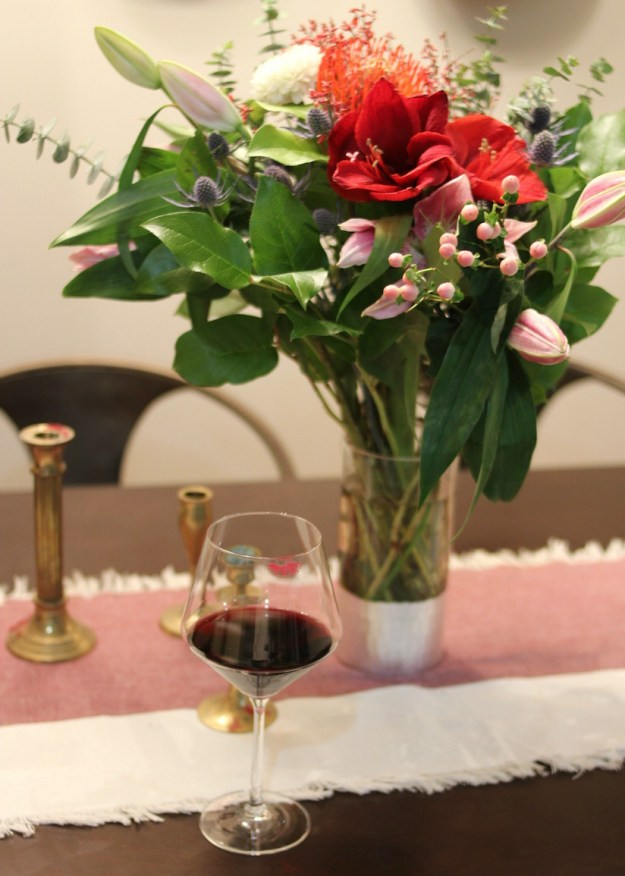 Flowers from Steves Flower Market in Chicago with a glass of wine