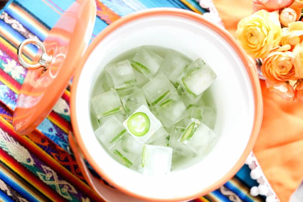 Jalapano Ice Cubes for homemade spicy margaritas