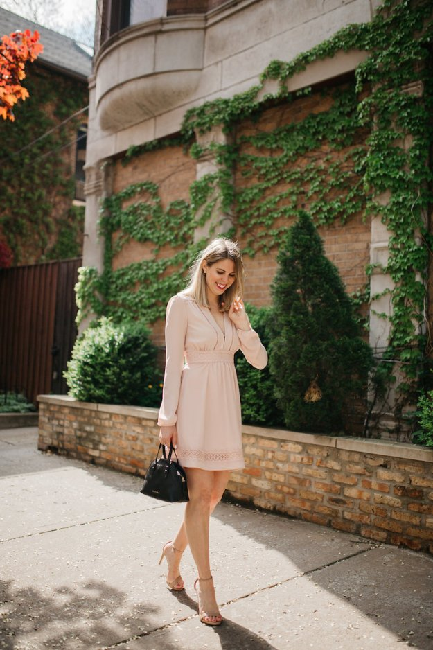 Walking in Lincoln Park in a long sleeve Blush Pink dress