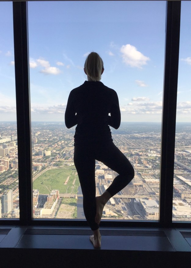 Yoga from the Willis Tower in Chicago