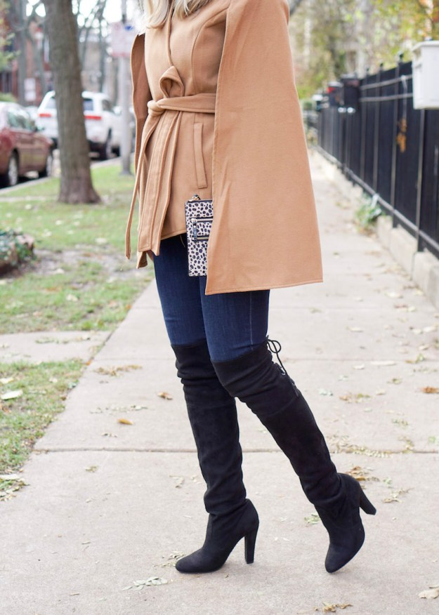 Black over the knee boots with a heel