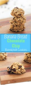 Soft, easy banana bread breakfast cookies that are vegan, gluten free, and involve chocolate! They're perfect for a quick pick me up in the afternoon!