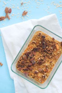 This sweet potato baked oatmeal is vegan, gluten free, refined sugar free, and the perfect meal prep dish! It's filled with healthy fats, complex carbs, protein, and flavor.